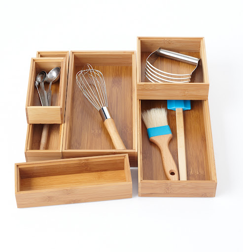 These wooden boxes, in different shapes and sizes, make great drawer and cabinet organizers.