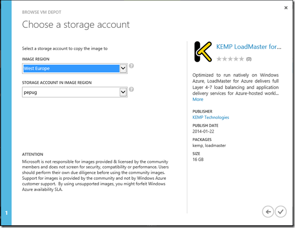 VM Depot - wybór miejsca skopiowania obrazu
