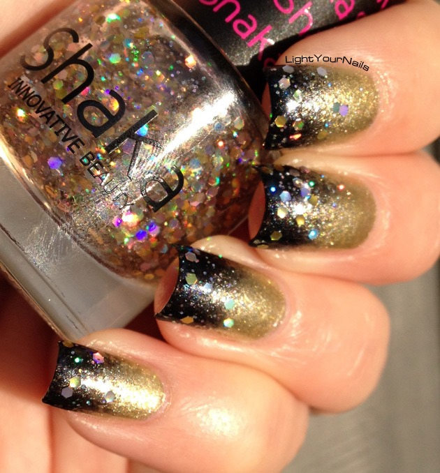 Gold and blue gradient with holographic glitters