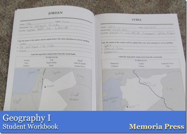 Geography I from Memoria Press Student Workbook