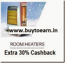 PayTM: Buy Room Heaters extra 30% Cashback