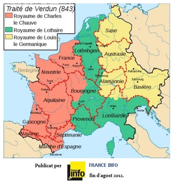 Mapa de l'Empèri de Karl Magnus 843