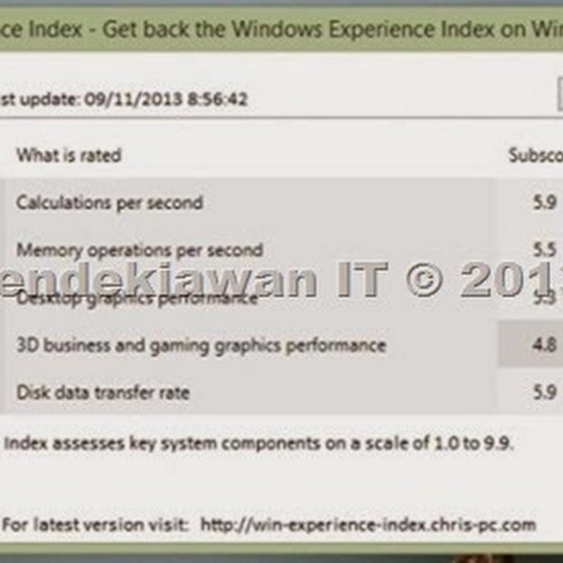 Cara Tes Skor Experience Index Pada Windows 8.1