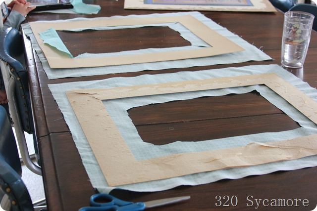 using fabric to cover old picture mats