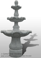 3-Tiered Scalloped Fountain, D54 x H96, Bianco Catalina Granite