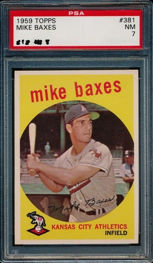 1959 Topps 381 Mike Baxes two red marks  variation