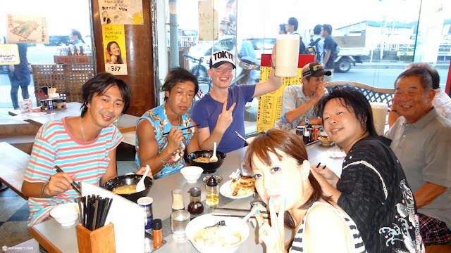 ramen & gyoza dinner time with Team Jager9 at enoshima beach in japan in Fujisawa, Kanagawa, Japan