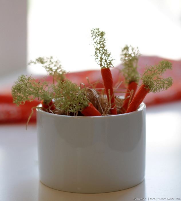 Miniature Crepe Paper Carrots - homework (9)
