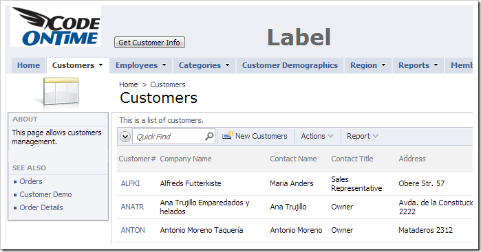 Customized user control replacing the header element.