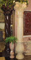 Beige Venato Marble Corinthian Fluted Column with Base