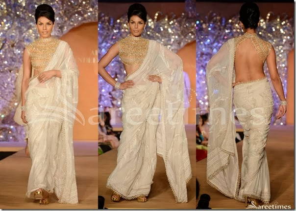 Abu_Jane_Sandeep_White_Georgette_Saree
