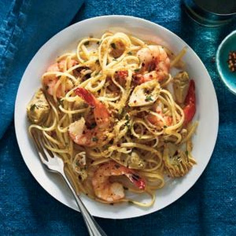 Linguine With Shrimp, Artichokes, and Crispy Bread Crumbs
