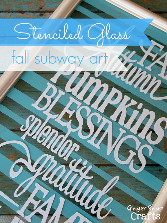 Stenciled Glass Fall Subway Art with Americana Multi-Surface Satin Paint from Decoart #decoart #spon #paint