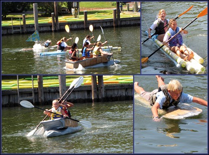 paper boat race collage