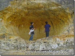The boys found this sandstone cave.