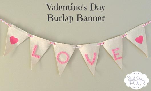 Valentines Day Burlap Banner