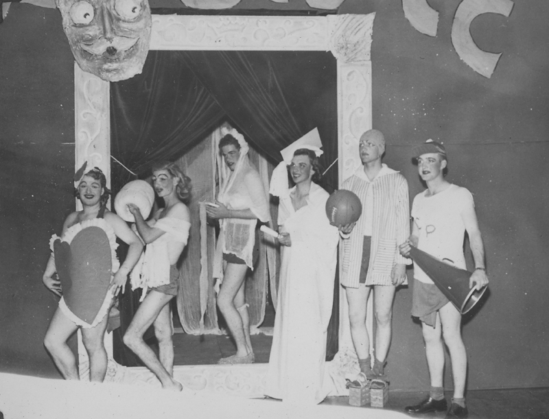 "A ""Sunday Punch"" performance at Service Club #1 at Camp Polk, Louisianna. The event was played to a capacity crowd of ""nearly 800 enthusiastic serviemen."" Edgar Sandifer is second from the left. 1951."