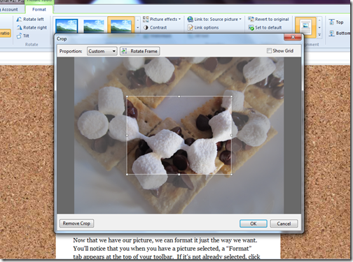 livewriter picture format toolbar crop window
