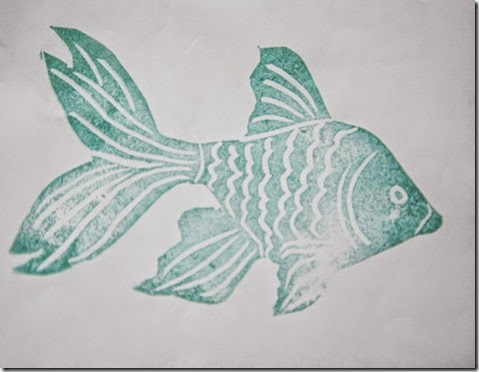 Handcarved Goldfish Stamp1