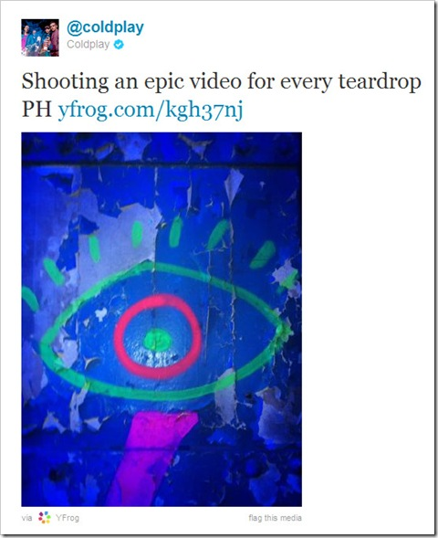Twitter - @coldplay- Shooting an epic video for ...
