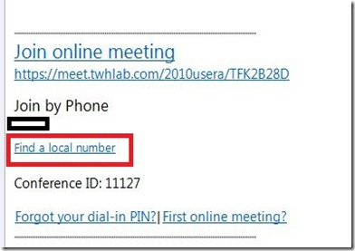 Lync DTMF - Outlook invite - markup