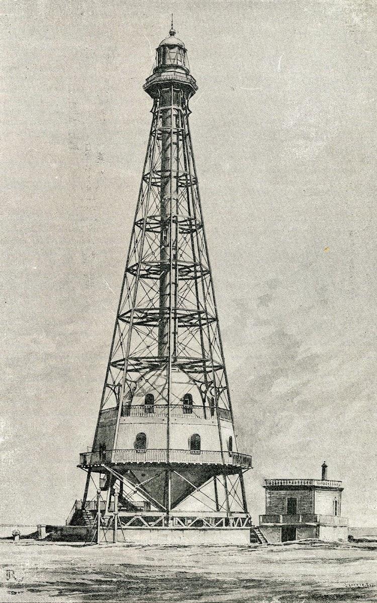 Grabado del Faro de la Isla de Buda. El Mundo Naval Ilustrado.Año 1.901.jpg