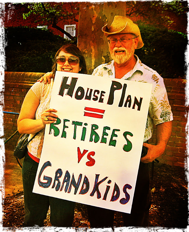 retiree protesters express concern for grandchildren