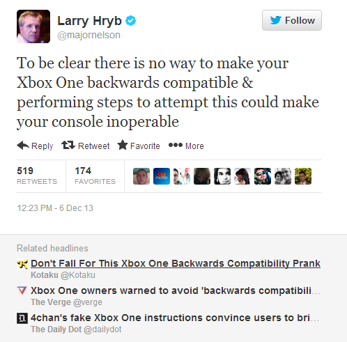 Larry Hryb Xbox One Tweet