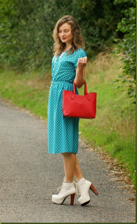 green polka dot vintage midi dress