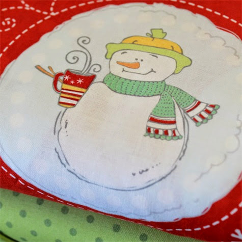 Flaky Pals snowman fabric 1