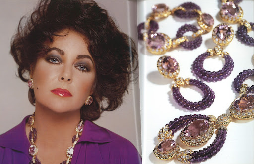 Look at this fantastic amethyst, kunzite, and diamond jewelry.  (photo, Elizabeth Taylor:My Love Affair With Jewelry)