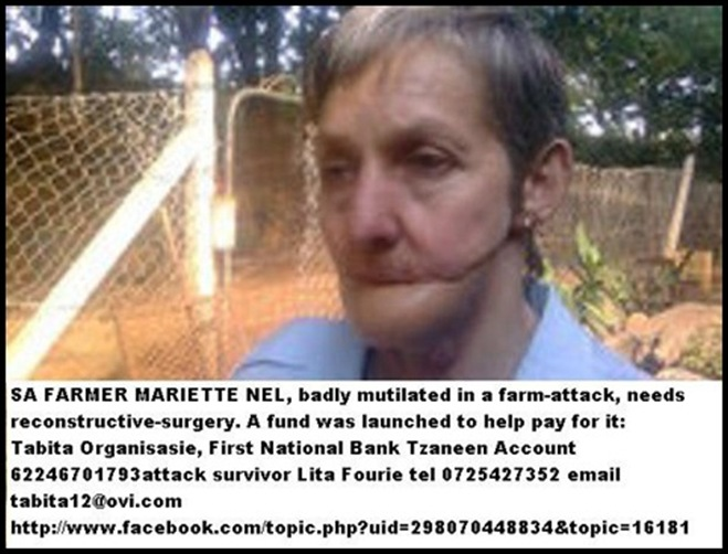 Farm Murder victim Mariette Nel mutilated by shotgun blast from farm attacker 26oct2002 Ladysmith KZN