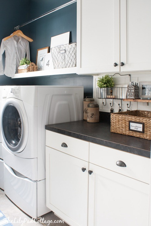navy and white laundry room