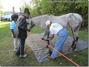 Sally demonstrates cleaning her horse's hoof.