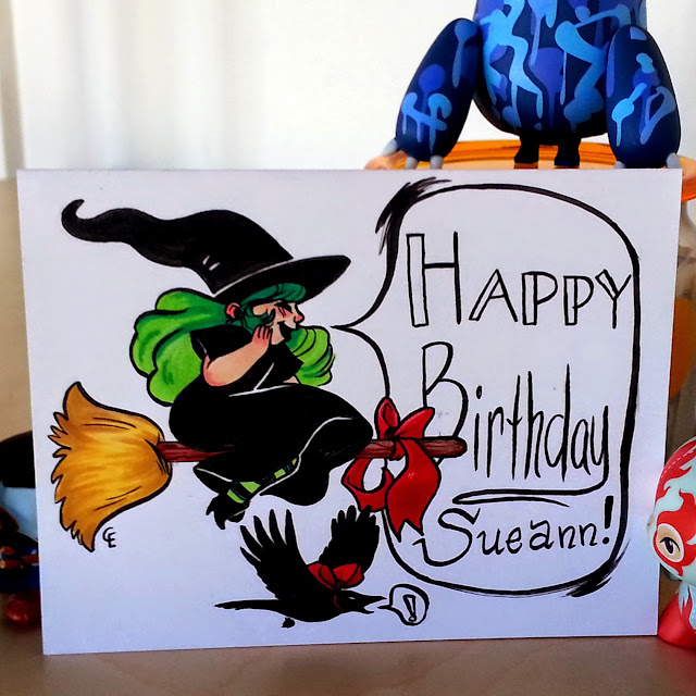 "A handmade birthday card with a crow and a witch who is yelling ""Happy Birthday Sueann!"" made by Chelsea Loren Edwards (that's me!)"