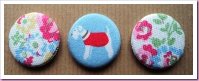 Badges made using kath Kidston material