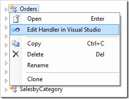 Edit Handler in Visual Studio context menu option in the Project Explorer.