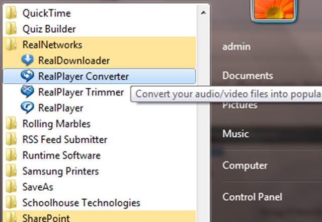 การใช้งาน Realplayer converter
