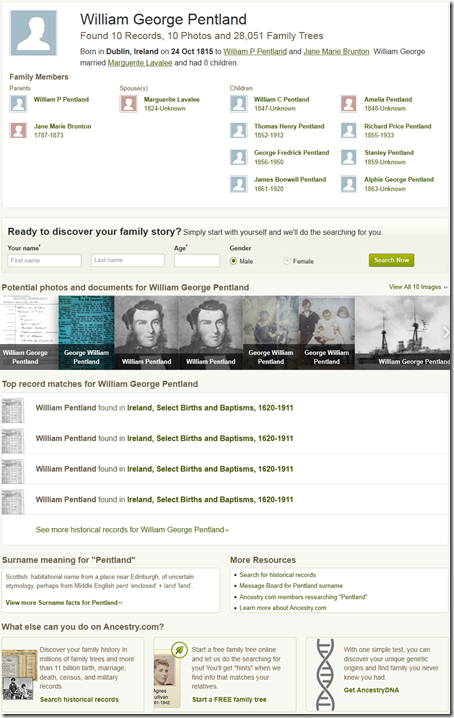 Ancestry.com historic person marketing page