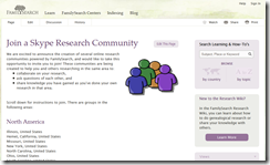 Join a FamilySearch sponsored Skype genealogy research community