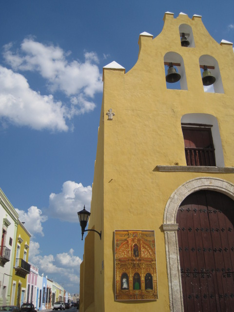 Pretty old yellow church, Campeche, MX.