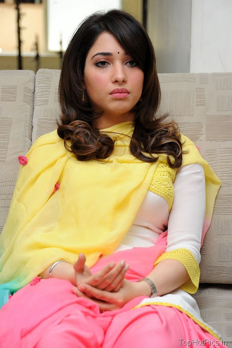 Tamanna Hot in Yellow Indian Dress photos 6