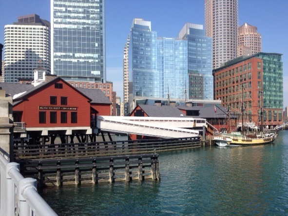 The Boston Tea Party museum sits right on the edge of the harbor. With rising sea levels and the increasing threat of strong storms, buildings like these are at particular risk of flooding. Photo: Christopher Joyce / NPR