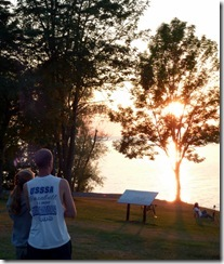 Amanda and Brandon enjoying a sunset over Lake Ontario
