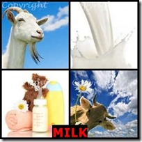 MILK- 4 Pics 1 Word Answers 3 Letters