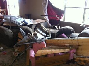 Tornado Damage Living Room