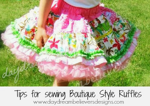 Tips for sewing boutique style ruffles from Daydream Believers