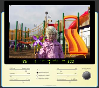 Tela do simulador de câmeras fotográficas SLR do Camerasim.com