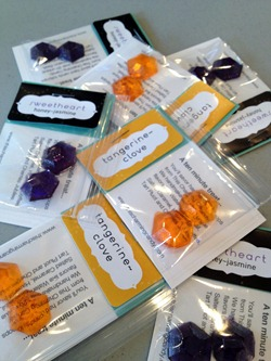 gem-shaped hard candy samples