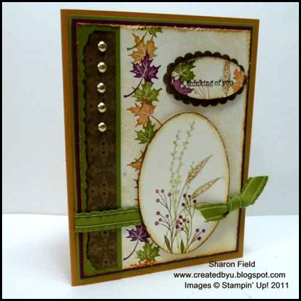 Autumn_Days, Mocha_morning, designer_Series_Paper, fall_Card, thinking_of_you, creative-sketches, sharon_field_createdbyu_Blogspot, ruffled_ribbon, sketch, challenge, brads, mat_pack